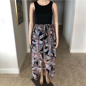 Sleeveless Fit and Flare Hi-Lo Dress